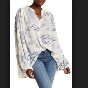 FREE PEOPLE Metallic Blooms Top NWT oversized XS
